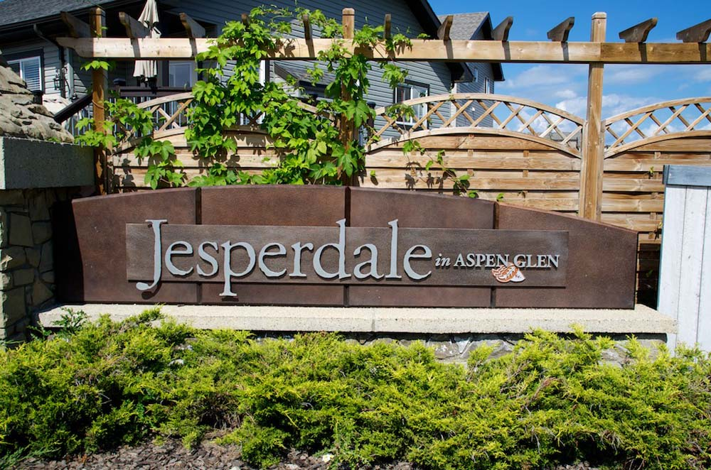 This artistic metal sign greets residents as they drive into the community of Jesperdale, a quiet community in Spruce Grove.